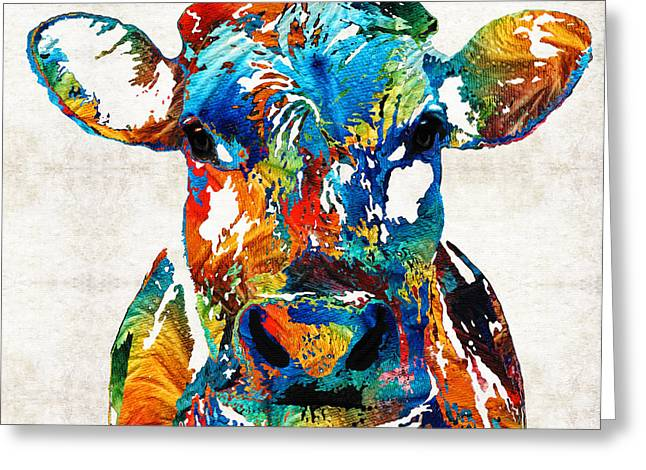 Colorful Animal Art Greeting Cards - Colorful Cow Art - Mootown - By Sharon Cummings Greeting Card by Sharon Cummings