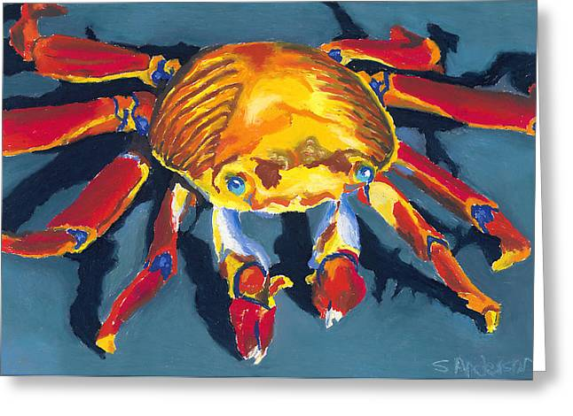 Color Colorful Pastels Greeting Cards - Colorful Crab Greeting Card by Stephen Anderson