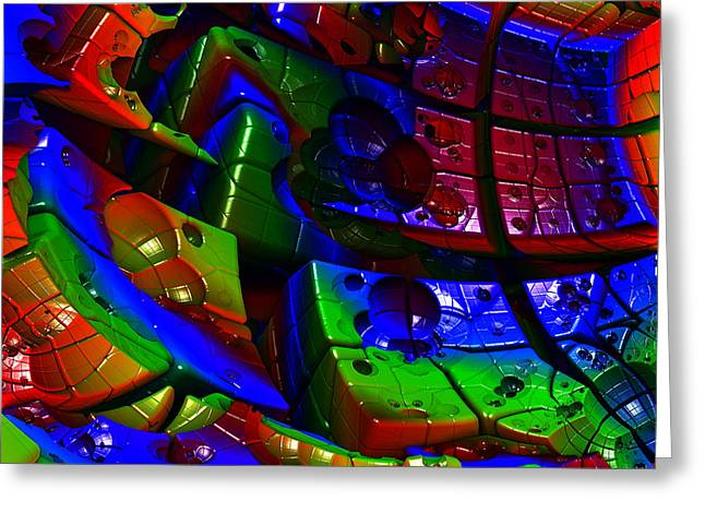 Geometric Style Greeting Cards - Colorful Cube Abstract Greeting Card by Radoslav Nedelchev