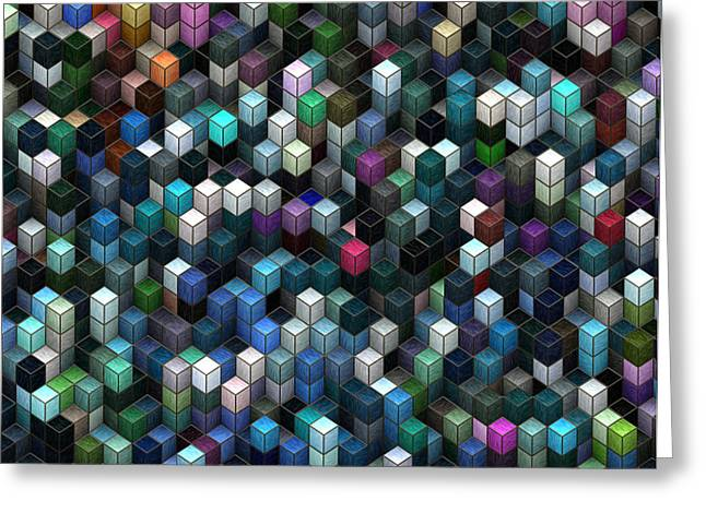 Rectangles Greeting Cards - Colorful Cubes Greeting Card by Jack Zulli