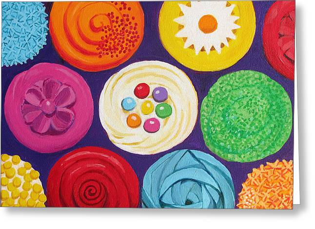 Assorted Paintings Greeting Cards - Colorful Cupcakes Greeting Card by Toni Silber-Delerive