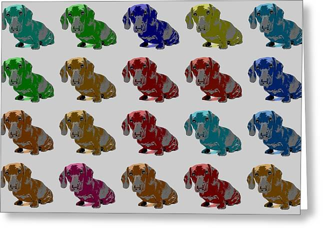 Dachshund Digital Greeting Cards - Colorful Dachshund Pop Art Poster Greeting Card by Dan Sproul
