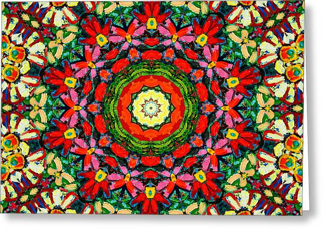Recently Sold -  - Geometric Design Greeting Cards - Colorful Daisies Mandala Greeting Card by Ana Maria Edulescu