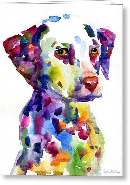 Whimsical Dog Art Greeting Cards - Colorful Dalmatian puppy dog portrait art Greeting Card by Svetlana Novikova