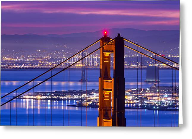 Bay Bridge Greeting Cards - Colorful Dawn - San Francisco Greeting Card by David Yu