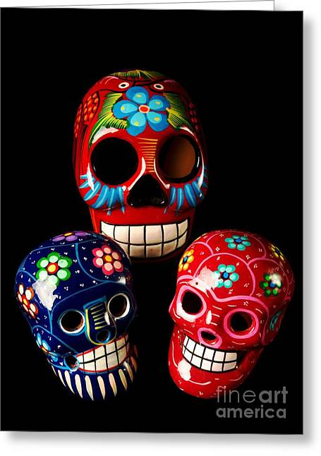 Tomb Mixed Media Greeting Cards - Colorful Day Of The Dead Skulls Greeting Card by M and L Creations