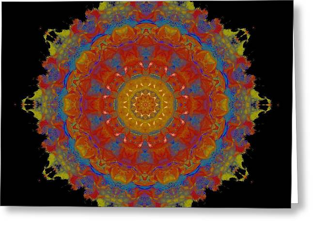 Colorful Photography Mixed Media Greeting Cards - Colorful Decagon Kaleidoscope Greeting Card by Dan Sproul