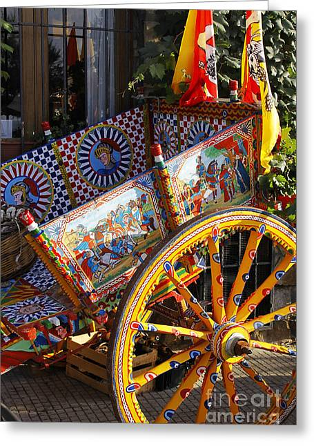 Carver Greeting Cards - Colorful decorated horse carriage Cefalu Palermo Sicily Italy Greeting Card by Stefano Senise