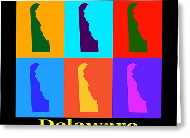 Delaware Digital Art Greeting Cards - Colorful Delaware State Pop Art Map Greeting Card by Keith Webber Jr
