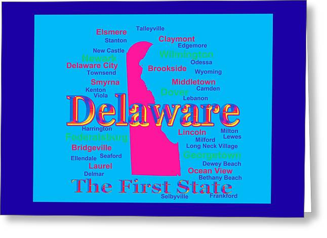 Smyrna Greeting Cards - Colorful Delaware State Pride Map Silhouette  Greeting Card by Keith Webber Jr