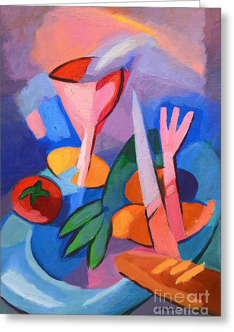 Abstract Food Greeting Cards - Colorful Dinner Greeting Card by Lutz Baar