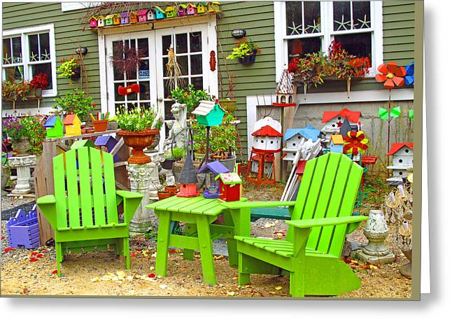 Lawn Chair Greeting Cards - Colorful Display Greeting Card by Barbara McDevitt