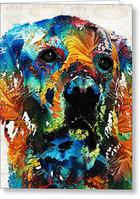 Yellow Dog Paintings Greeting Cards - Colorful Dog Art - Heart And Soul - By Sharon Cummings Greeting Card by Sharon Cummings