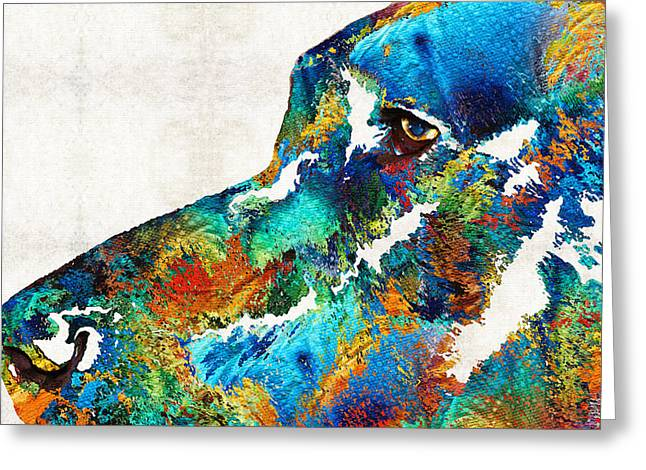 Brindle Greeting Cards - Colorful Dog Art - Loving Eyes - By Sharon Cummings  Greeting Card by Sharon Cummings