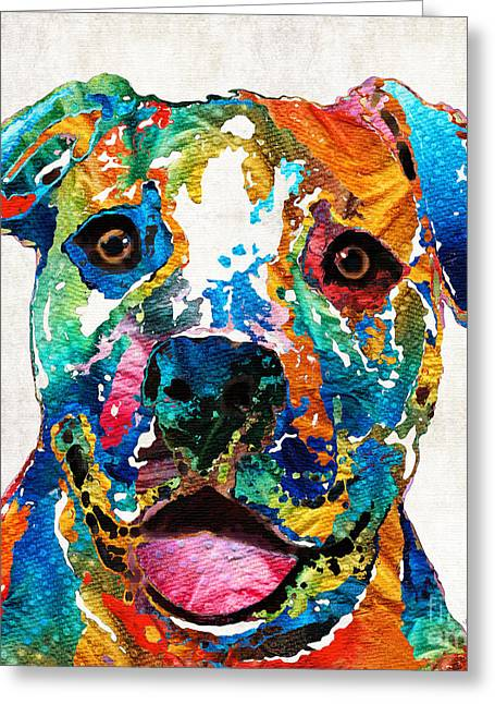Prints For Sale Paintings Greeting Cards - Colorful Dog Pit Bull Art - Happy - By Sharon Cummings Greeting Card by Sharon Cummings