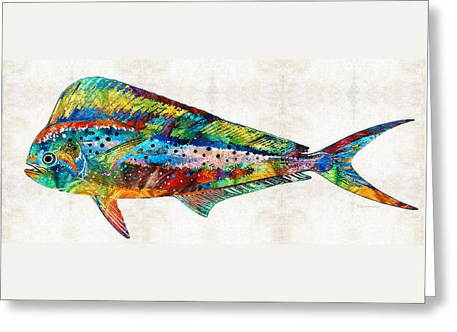 Scuba Diving Paintings Greeting Cards - Colorful Dolphin Fish by Sharon Cummings Greeting Card by Sharon Cummings