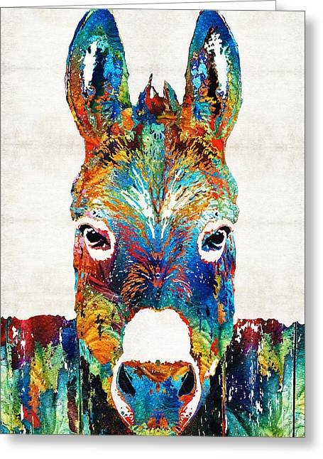Rustic Cabin Greeting Cards - Colorful Donkey Art - Mr. Personality - By Sharon Cummings Greeting Card by Sharon Cummings