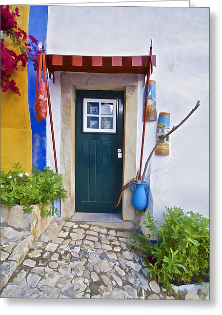 Colorful Door Of Obidos Greeting Card by David Letts