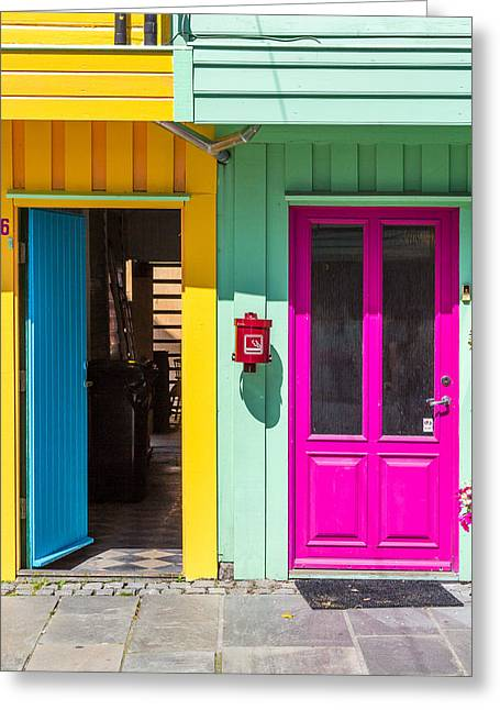 Colorful Doors And Walls Greeting Card by Aldona Pivoriene