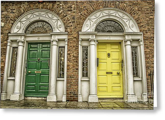 Traditional Doors Greeting Cards - Colorful doors in Dublin Greeting Card by Patricia Hofmeester