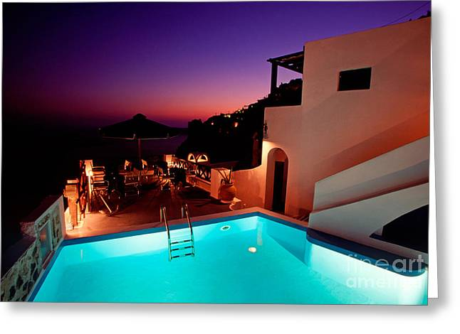 Evening Scenes Greeting Cards - Colorful dusk in Santorini Greeting Card by Aiolos Greek Collections