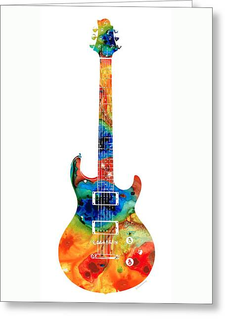 Bass Player Greeting Cards - Colorful Electric Guitar 2 - Abstract Art By Sharon Cummings Greeting Card by Sharon Cummings