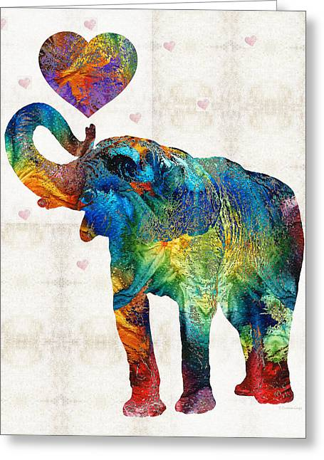Tusk Greeting Cards - Colorful Elephant Art - Elovephant - By Sharon Cummings Greeting Card by Sharon Cummings