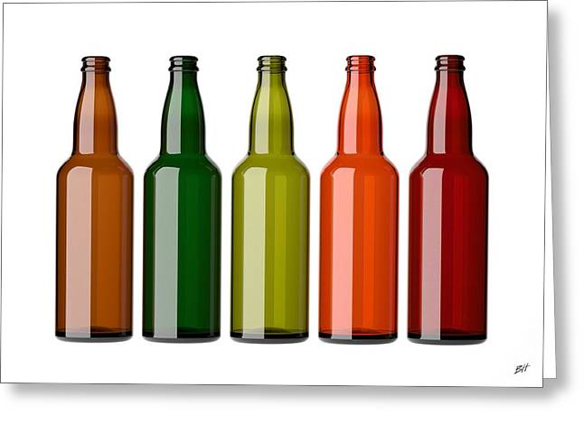 Isolated Object Greeting Cards - Colorful empty bottles on white Greeting Card by Bruno Haver