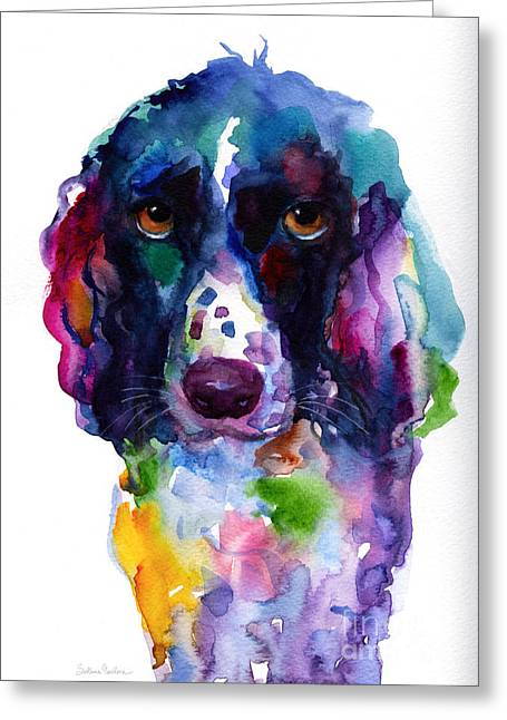 Puppies Print Greeting Cards - Colorful English Springer Setter Spaniel dog portrait art Greeting Card by Svetlana Novikova