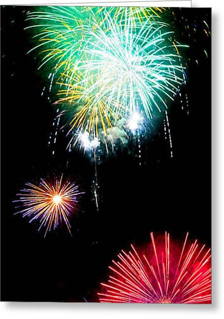 4th July Photographs Greeting Cards - Colorful Explosions No3 Greeting Card by Weston Westmoreland