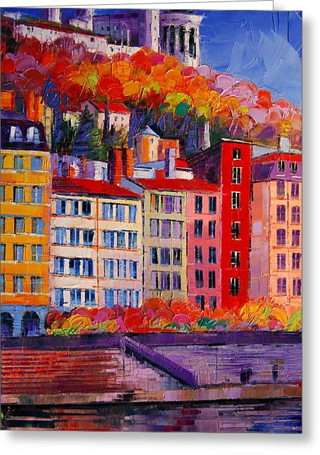 Facades Greeting Cards - Colorful Facades On The Banks Of Saone - Lyon France Greeting Card by Mona Edulesco