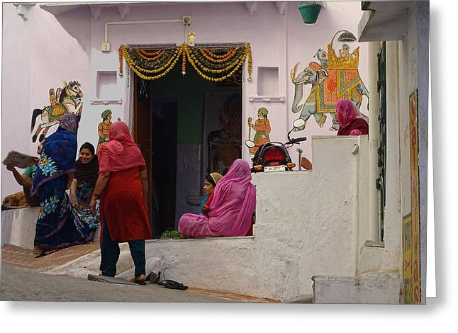 Gathering Greeting Cards - Colorful Family Gathering Ancestral Home Udaipur Rajasthan India Greeting Card by Sue Jacobi Photography
