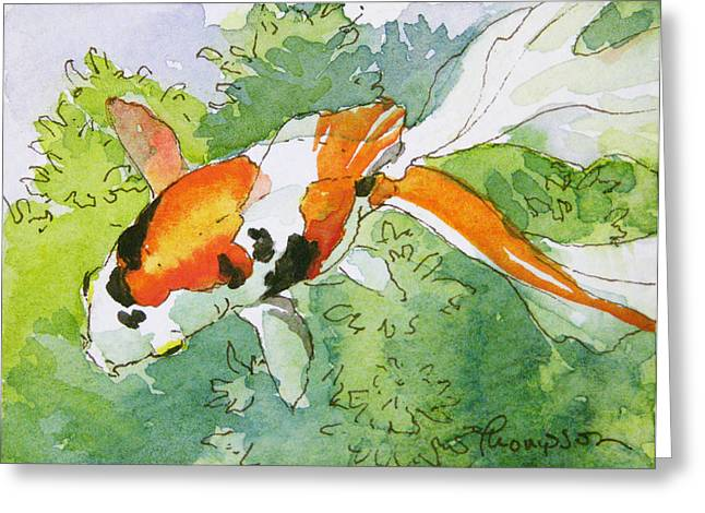 Water Garden Greeting Cards - Colorful Fantail Goldfish 1 Greeting Card by Tracie Thompson