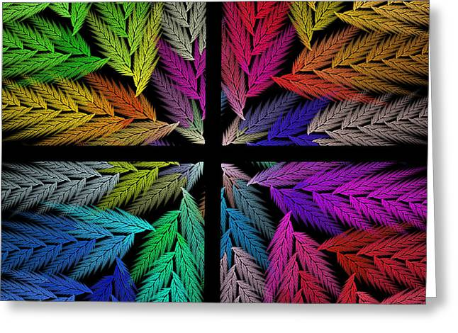 Artistic Photography Mixed Media Greeting Cards - Colorful Feather Fern - 4 X 4 - Abstract - Fractal Art - Square Greeting Card by Andee Design