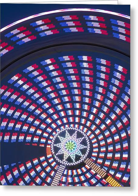 Independance Day Greeting Cards - Colorful Spinning Ferris Wheel Close-up Greeting Card by John Franco