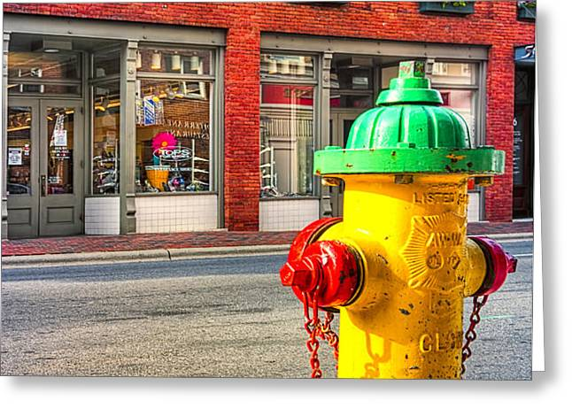 Colorful Fire Hydrant On The Streets of Asheville Greeting Card by Mark Tisdale