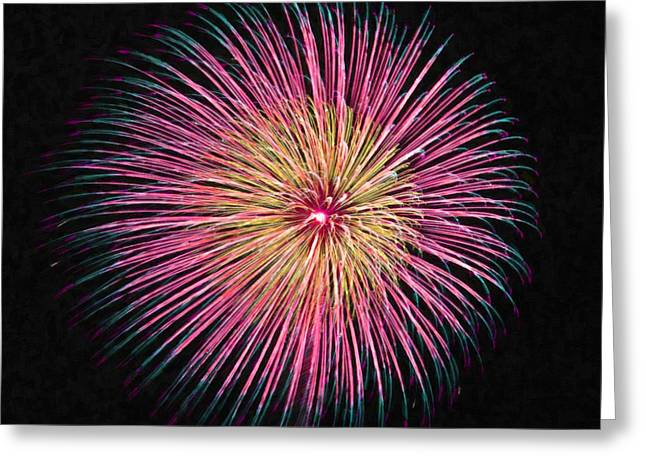 4th July Paintings Greeting Cards - Colorful fireworks Greeting Card by Lanjee Chee