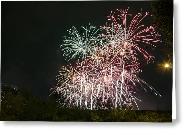 Pyrotechnics Greeting Cards - Colorful fireworks Greeting Card by Tilyo Rusev
