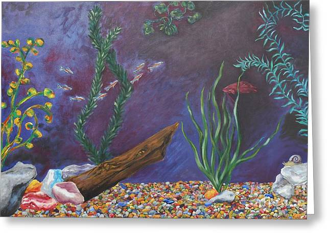 Betta Paintings Greeting Cards - Colorful Fish Tank cropped Greeting Card by Emily Michaud