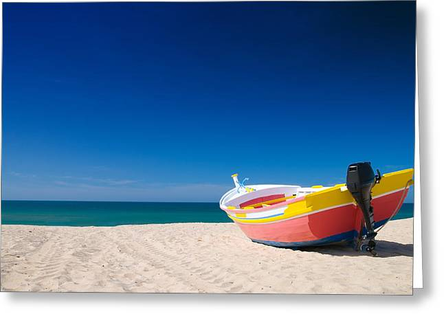 Colorful Fishing Boat Algarve Portugal Greeting Card by Amanda And Christopher Elwell