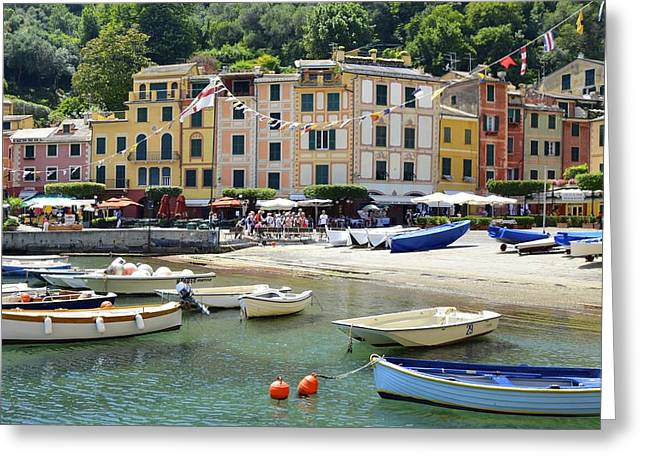 Portofino Italy Greeting Cards - Colorful Fishing Village Greeting Card by Corinne Rhode