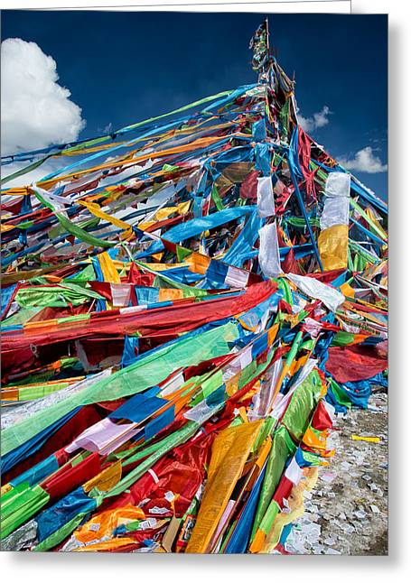 Tibetan Buddhism Greeting Cards - Colorful Flags Greeting Card by James Wheeler