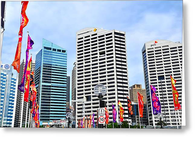 Darling Harbour Greeting Cards - Colorful Flags Lead to City by Kaye Menner Greeting Card by Kaye Menner
