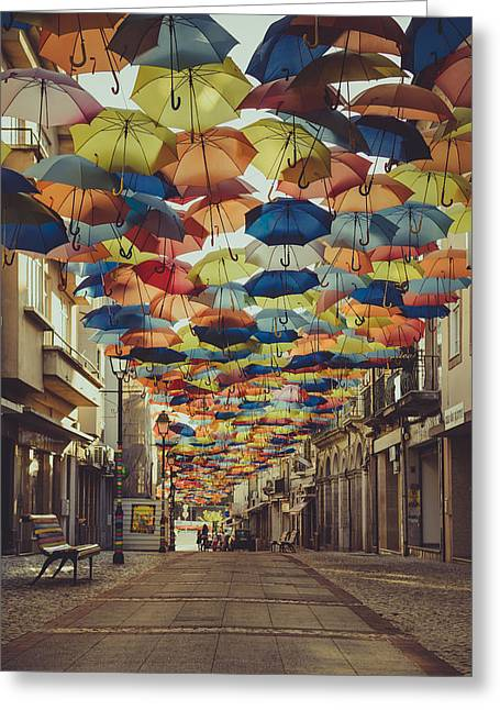 Wire Handle Greeting Cards - Colorful Floating Umbrellas II Greeting Card by Marco Oliveira