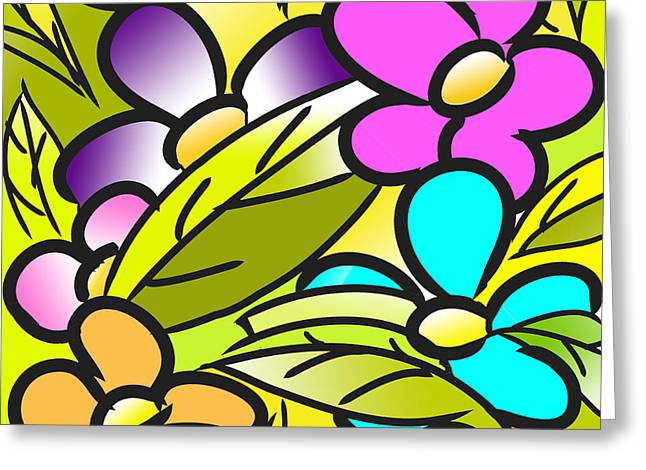 Colorful Floral Nursery Wall Art Greeting Card by Nursery Art