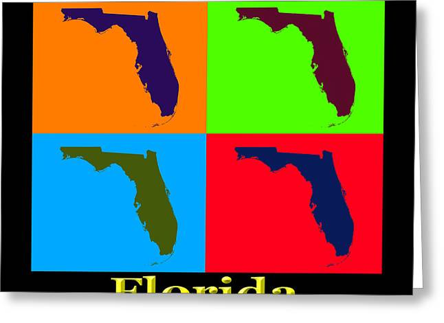 Florida Digital Art Greeting Cards - Colorful Florida State Pop Art Map Greeting Card by Keith Webber Jr