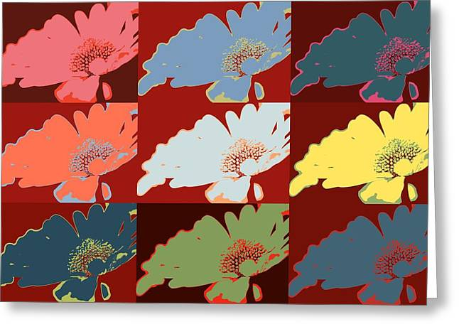 Selection Mixed Media Greeting Cards - Colorful flowers daisy Greeting Card by Toppart Sweden