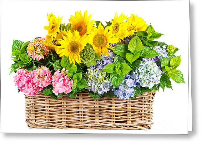 Patch Pyrography Greeting Cards - Colorful Flowers in Basket Greeting Card by Boon Mee