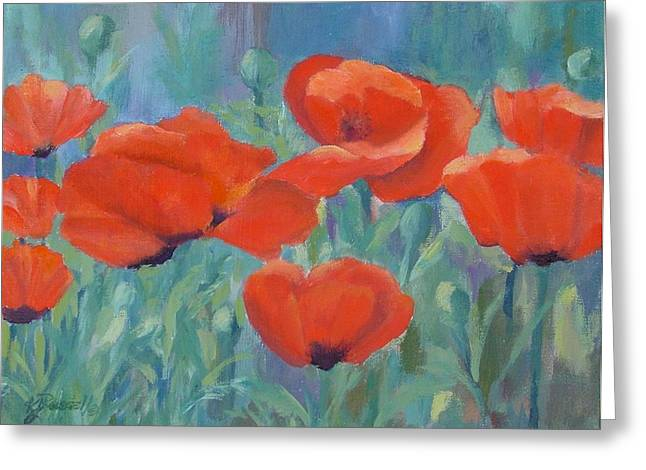 K Joann Russell Greeting Cards - Colorful Flowers Red Poppies Beautiful Floral Art Greeting Card by K Joann Russell