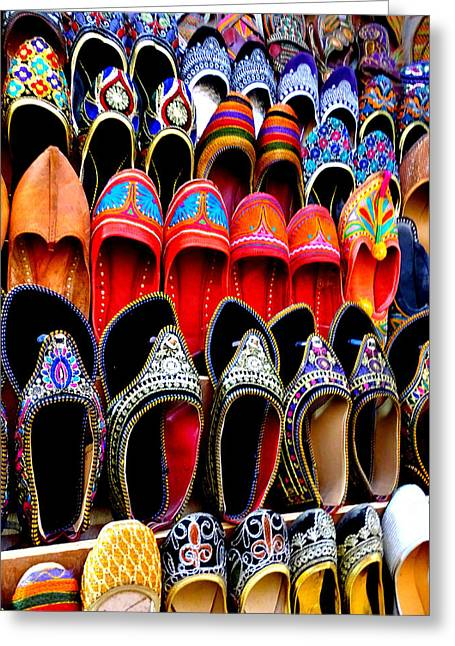 Occasion Greeting Cards - Colorful Footwear Juttis For Sale Jaipur Rajasthan India Greeting Card by Sue Jacobi